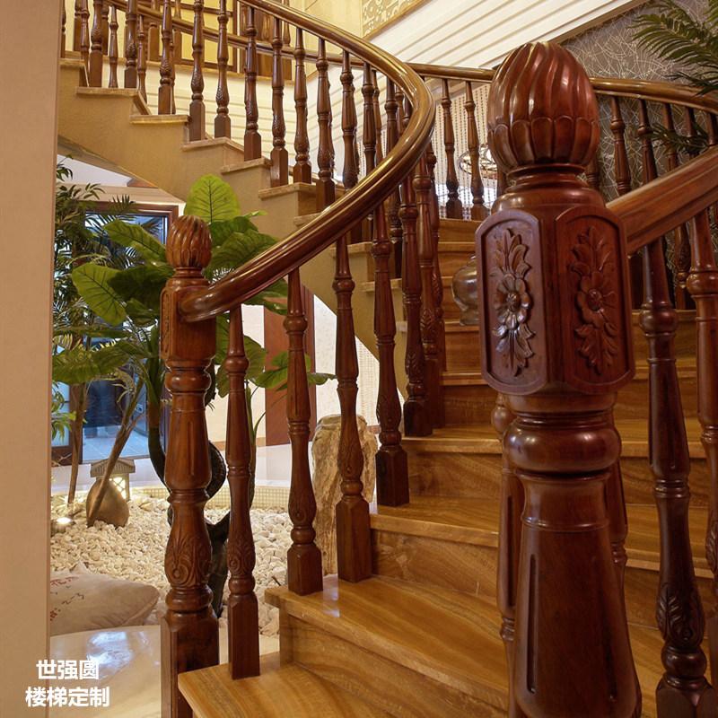 弧形楼梯扶手-菊花雕花柱