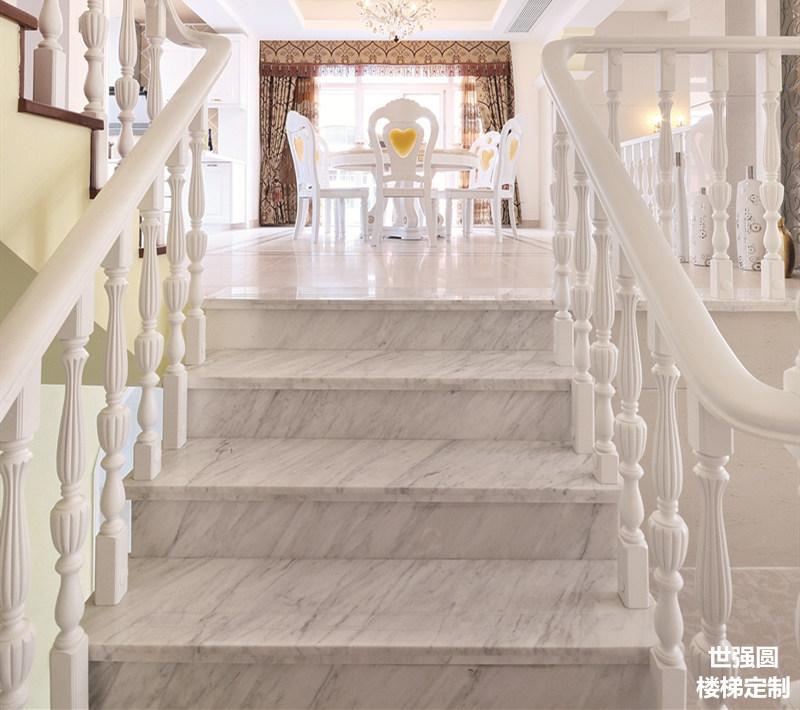 白色双边拉线柱-实木楼梯护栏